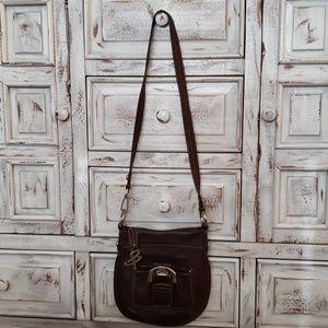 B makowsky brown leather cross body purse